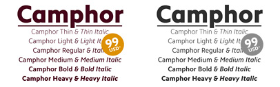 All 12 weights of Camphor by Nick Job are now available from Linotype.com for only $99 USD (or € 99.00). The offer is only available until November 29th.