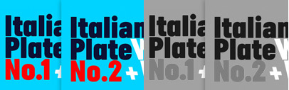 Italian Plate No.1 & No.2 by @playtype: No.1 is a sans serif with  blunt corners.