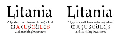 Litania' a typeface with two combining sets of majuscules and matching lowercases' by @rui_abreu