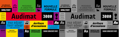Audimat 3000' a DIN like/grid-constructed typeface with a more quirky touch.