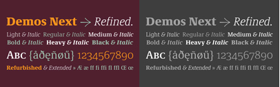 Demos Next' the new version of Demos by Gerard Unger. The heavy weight is free of charge' and Demos Next Family Pack is $99 at Fonts.com and $99/€99 at Linotype for a limited time.