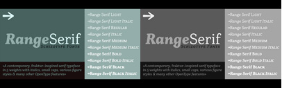 Range Serif by Schizotype is available. Introductory offer Range Serif family 60% off.