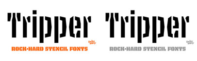 Tripper' 4 flavours of rock-hard stencil fonts' by @underware