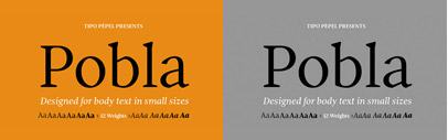 Pobla by Tipo Pèpel: it comes with 6 weights with matching italics.