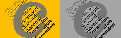 Clarendon Graphic by  François Rappo. It comes with 10 weights and corresponding italics. The stencil version comes with 3 weights and corresponding italics.