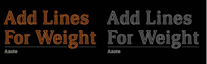 Azote is a multiline typeface family that adds lines for weight. Note: it doesn't include the diacritics.