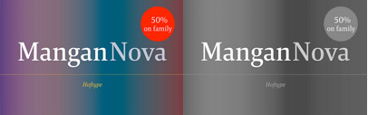 Mangan Nova' a semi-condensed version of Mangan. Mangan Nova Family is 50% off until June 20.