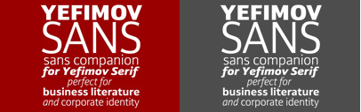 Yefimov Sans' a sans companion for Yefimov Serif. 90% off till May 9.