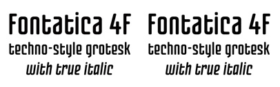 Fontatica 4F' a blunt-cornered and techno-style font' created by Sergiy Tkachenko and published by 4th february