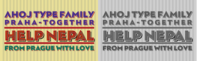 "Ahoj' a bold display sans serif inspired by images of old signs and lettering' from TypeTogether. ""If you liked this typeface we invite you to donate to any of these charities recommended by international media' to help Nepal to recover from the devastation and tragedy caused by the series of earthquakes…"" See their website for more details."