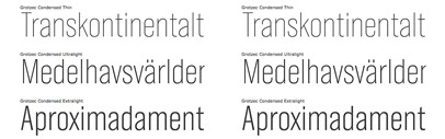 Three new weights and italics added to the Grotzec Condensed family.