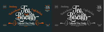 Tea Biscuit' an upright brush script typeface' by Fenotype. 35% off until Jul 17.