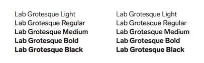 Lab Grotesque comes with 5 weights + italics. It is designed with and for Stockholm Design Lab.