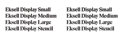 Eksell Display was originally designed by the legendary swedish designer Olle Eksell (1918–2007). @lettersfromswe carefully digitized the letters and developed a family of four optical styles' including a stencil version.