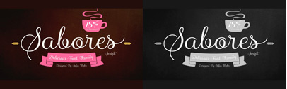 Sabores Script contains 5 weights with italics and swashes. Sabores Script family is 75% off until July 30.