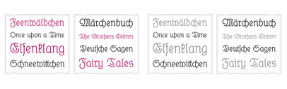 Elfen Fraktur' a monolinear blackletter typeface' originally published in 1919 by M. Beck.