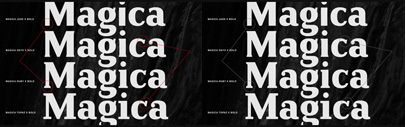 The Magica family is generated from three basic interpolation premises; width' weight and serif.