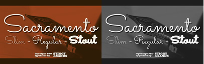 Sacramento Pro' the Pro version of one of the popular Google Fonts. 50% off until Sep 26.