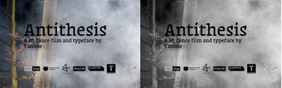 Antithesis' a 3D dance music art film and typeface project by Yanone' is on indiegogo.com.