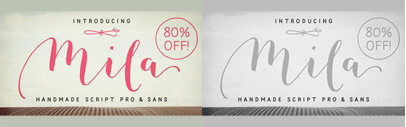 Mila Script' Mila Script Sans' and Mila Script Ornaments. Mila Script Pro Complete is 80% off until Nov 6.