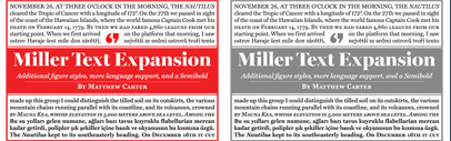 Update to Miller Text: new Semibold' additional figure styles' and more language support.