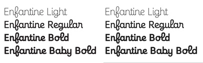 Enfantine' an upright script typeface' by @ProductionType