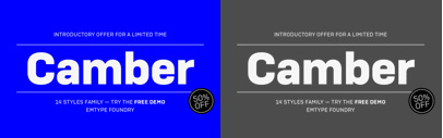 Camber by @emtype. 50% off until Dec 17.