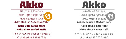 The complete Akko family is just 99 Euro' the new Brewery No 2 typeface' and more offers.