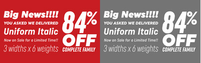 Italics were added to Uniform. Uniform Complete Family and Uniform Italic Complete Family are 84% off until Feb 26.