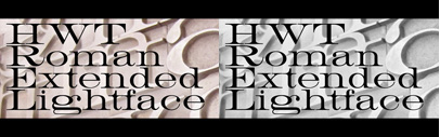 HWT Roman Extended Lightface' a delicate and handsomely proportioned extended Roman style wood type