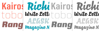 Kairos Sans and Richie by Monotype