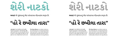 Yrsa & Rasa' open-source type families supporting Latin & Gujarati' by @rosettatype