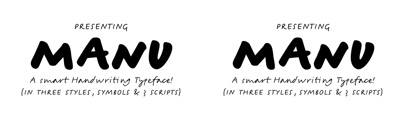 Manu' a sophisticated handwriting typeface written with two pens' in two speeds' supporting Latin' Greek' Cyrillic and Hebrew scripts.