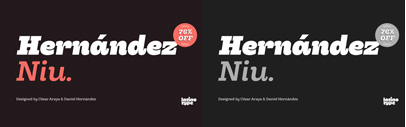 Hernández Niu by @Latinotype. 76% off until May 30.