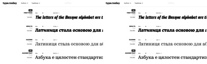 type.today is open with seven typefaces: Graphik' Giorgio Sans' First Prize' Amalta' Pilar' Kazimir' and Kazimir Text.