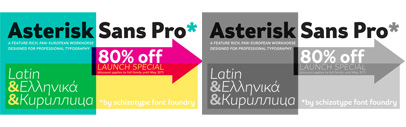 Asterisk Sans Pro by @SchizotypeFonts. 80% off until May 31.