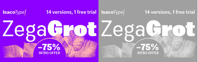 Zega Grot by @isacotype. 75% off until May 25.