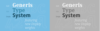 Thin and Heavy were added to Generis Serif' Slab and Simple.