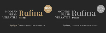 @Tipotype released Rufina Stencil. Introductory offer 80% off.