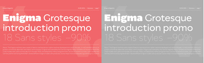 Enigma Grotesque by Mateusz Machalski. 90% off until Aug 1. (Enigma Grotesque was renamed as Migrena Grotesque.)