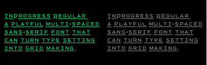 InProgress' a playful multi-spaced sans-serif typeface designed to turn typesetting into gridmaking.
