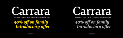 Carrara by Hoftype. Carrara Complete is 50% off until Sep 4.