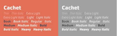Cachet expanded. It now comes with 8 weights + italics.