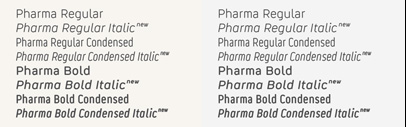 Pharma has been completed with italics and an extended character set.