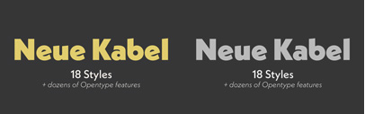 Neue Kabel comes with 9 weights + italics.