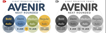 Get 8 weights of the new release Avenir Next Rounded for $99. 78% off the regular price.