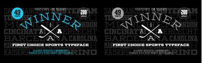 @sportsfonts_com released Winner. You can get Condensed Regular for free. Winner Family is 80% off until Dec 30.