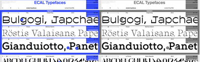 ECAL Typefaces released Fifty' Charon and Gioco.