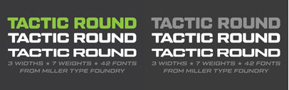 Tactic Round' the softer cousin to Tactic Sans' by Miller Type Foundry