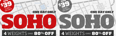 The Soho selection – the Light' Medium' Bold' and Heavy weights – over 80% off for the limited time.